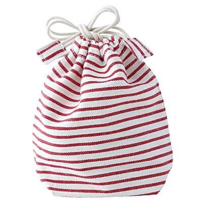 コップ袋 マチ付き・赤×ボーダー