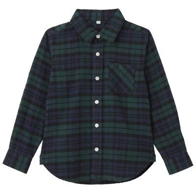 フランネルシャツ トドラー110・ダークグリーン×チェック