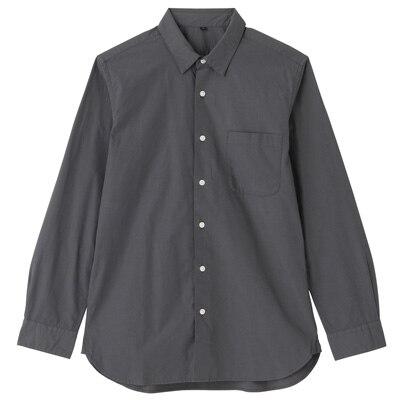 オーガニックコットンブロードシャツ(レギュラータイプ) 紳士XL・チャコールグレー