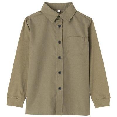 カットソー使い切り替えシャツ トドラー110・カーキグリーン