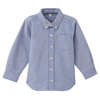 洗いざらしシャツ ベビー100・サックスブルー