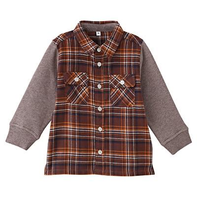 カットソー使い切り替えネルシャツ ベビー80・モカブラウン