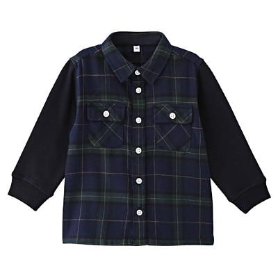 カットソー使い切り替えネルシャツ ベビー90・ネイビー