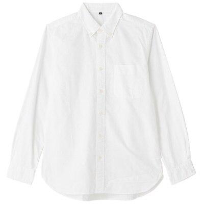 オーガニックコットンオックスフォードボタンダウンシャツ(イージータイプ) 紳士XS・白