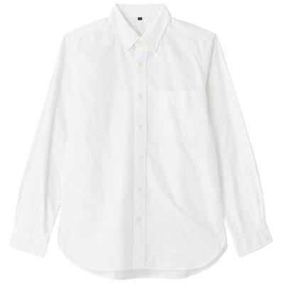 オーガニックコットンオックスフォードボタンダウンシャツ(イージータイプ) 紳士L・白