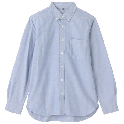 オーガニックコットンオックスフォードボタンダウンシャツ(イージータイプ) 紳士M・ブルー