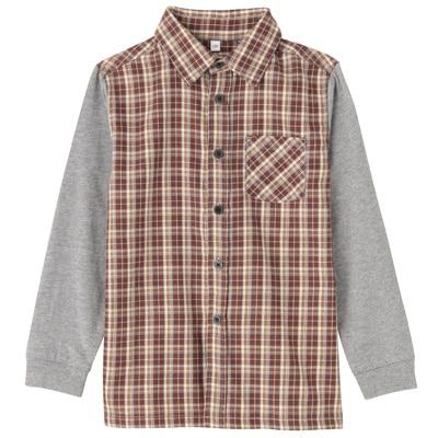 カットソー使い切り替えシャツ トドラー130・グレー×チェック
