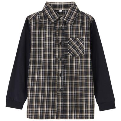 カットソー使い切り替えシャツ トドラー120・ネイビー×チェック