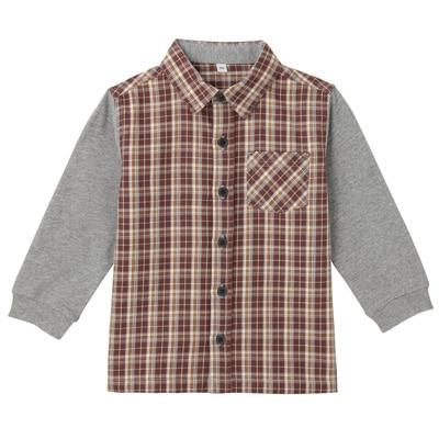カットソー使い切り替えシャツ ベビー80・グレー×チェック