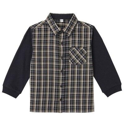 カットソー使い切り替えシャツ ベビー80・ネイビー×チェック