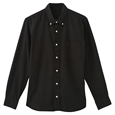 オーガニックコットンフランネルボタンダウンシャツ 紳士XS・黒