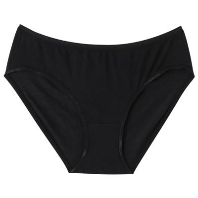 ストレッチ天竺ミディショーツ 脇に縫い目のないインナー(えらべる) 婦人XL・黒