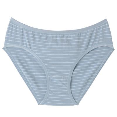 ストレッチ天竺ミディショーツ 脇に縫い目のないインナー(えらべる) 婦人XL・サックスブルー×ボーダー