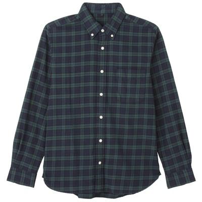 オーガニックコットンフランネルチェックボタンダウンシャツ 紳士XS・ダークグリーン