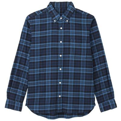 オーガニックコットンフランネルチェックボタンダウンシャツ 紳士XS・スモーキーブルー
