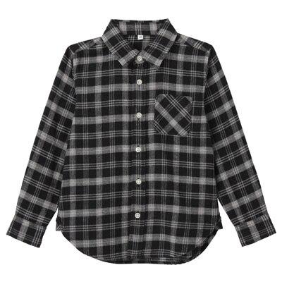 フランネルシャツ トドラー120・グレー×チェック