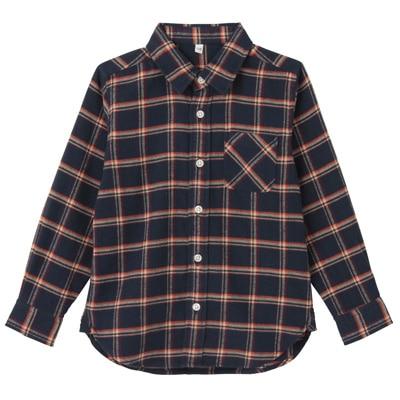 フランネルシャツ トドラー110・オレンジ×チェック