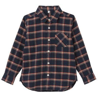 フランネルシャツ トドラー120・オレンジ×チェック
