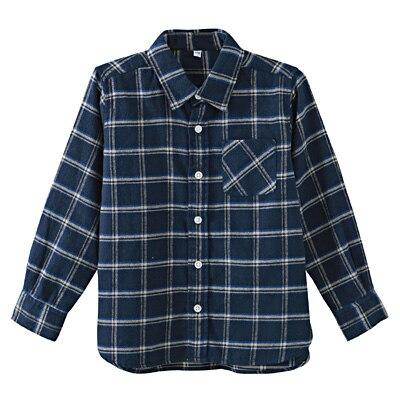 フランネルシャツ トドラー110・ブルー×チェック
