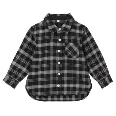 フランネルシャツ ベビー90・チャコールグレー×チェック