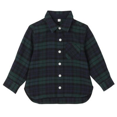 フランネルシャツ ベビー80・ダークグリーン×チェック
