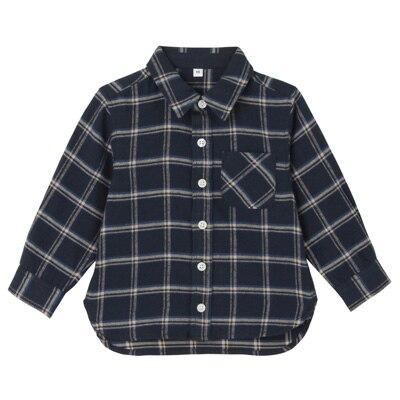 フランネルシャツ ベビー90・ブルー×チェック