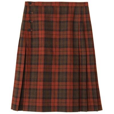 洗えるウール混チェックプリーツスカート 婦人61・オレンジ×チェック