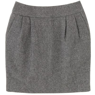 洗えるウール混ツィードスカート 婦人64・グレー