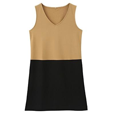 綿混ストレッチジャンパースカート 婦人S・ベージュ×カラーブロック