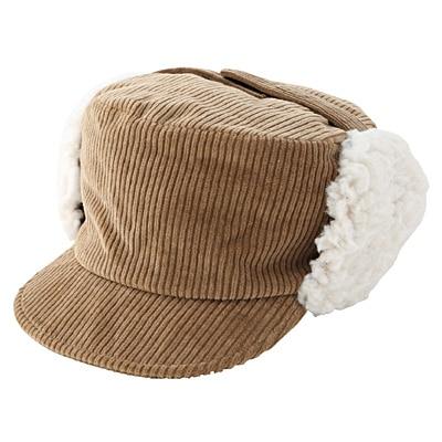 裏ボア使い耳あて付き帽子 50cm・ベージュ