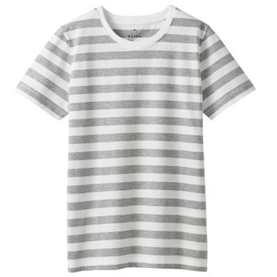 オーガニックコットンクルーネック半袖Tシャツ(ボーダー) 婦人S・白×ライトグレー