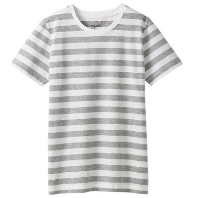 オーガニックコットンクルーネック半袖Tシャツ(ボーダー) 婦人L・白×ライトグレー