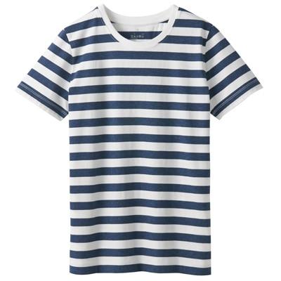 オーガニックコットンクルーネック半袖Tシャツ(ボーダー) 婦人M・白×ネイビー