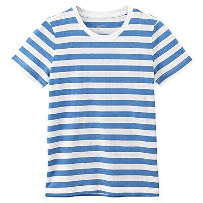 オーガニックコットンクルーネック半袖Tシャツ(ボーダー) 婦人M・白×ブルー