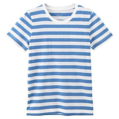オーガニックコットンクルーネック半袖Tシャツ(ボーダー) 婦人XS・白×ブルー