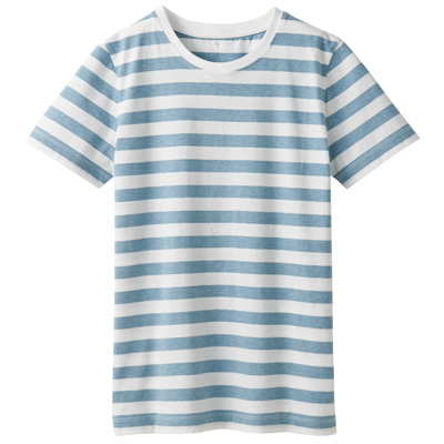 オーガニックコットンクルーネック半袖Tシャツ(ボーダー) 婦人S・白×サックスブルー