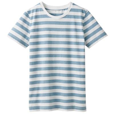 オーガニックコットンクルーネック半袖Tシャツ(ボーダー) 婦人M・白×サックスブルー