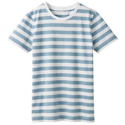 オーガニックコットンクルーネック半袖Tシャツ(ボーダー) 婦人XS・白×サックスブルー