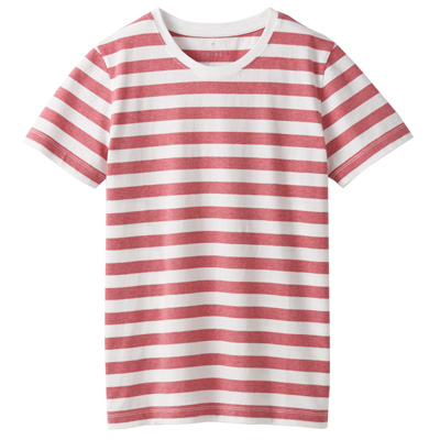 オーガニックコットンクルーネック半袖Tシャツ(ボーダー) 婦人S・白×ローズ
