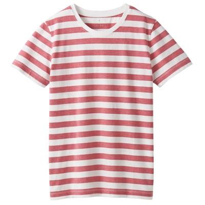 オーガニックコットンクルーネック半袖Tシャツ(ボーダー) 婦人XS・白×ローズ