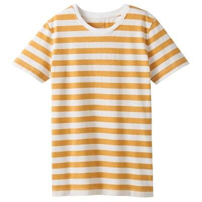 オーガニックコットンクルーネック半袖Tシャツ(ボーダー) 婦人L・白×イエロー