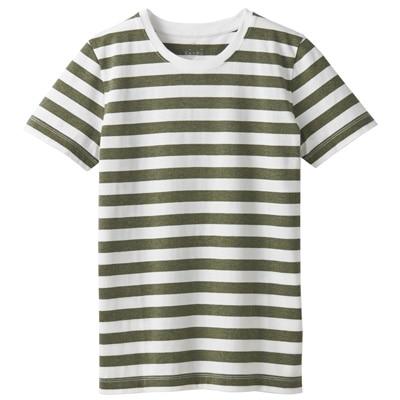 オーガニックコットンクルーネック半袖Tシャツ(ボーダー) 婦人S・白×カーキグリーン