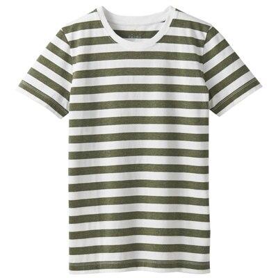 オーガニックコットンクルーネック半袖Tシャツ(ボーダー) 婦人XL・白×カーキグリーン