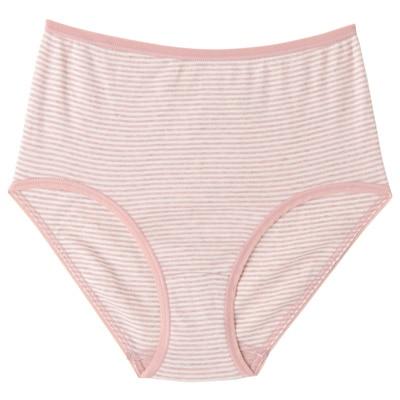 綿フライスハイライズショーツ 脇に縫い目のないインナー(えらべる) 婦人L・ピンク×ボーダー