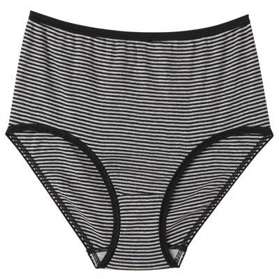 綿フライスハイライズショーツ 脇に縫い目のないインナー(えらべる) 婦人S・黒×ボーダー
