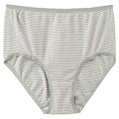 綿フライスハイライズショーツ 脇に縫い目のないインナー(えらべる) 婦人M・ライムグリーン×ボーダー