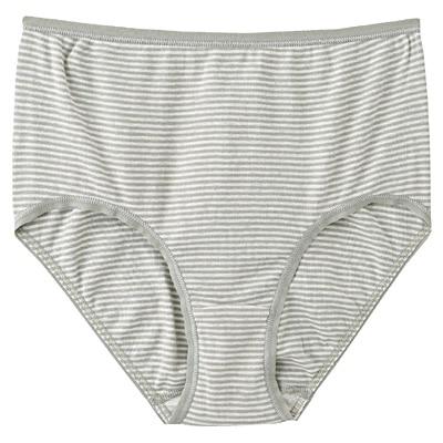 綿フライスハイライズショーツ 脇に縫い目のないインナー(えらべる) 婦人L・ライムグリーン×ボーダー