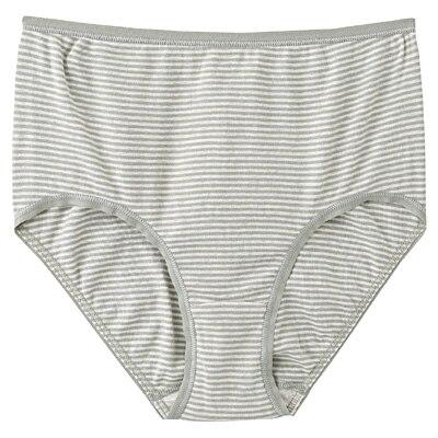 綿フライスハイライズショーツ 脇に縫い目のないインナー(えらべる) 婦人XL・ライムグリーン×ボーダー