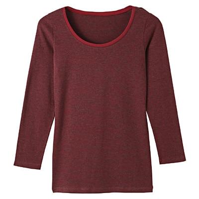 天然素材にこだわったぬくもりUネック八分袖シャツ 婦人XS・バーガンディ×ボーダー