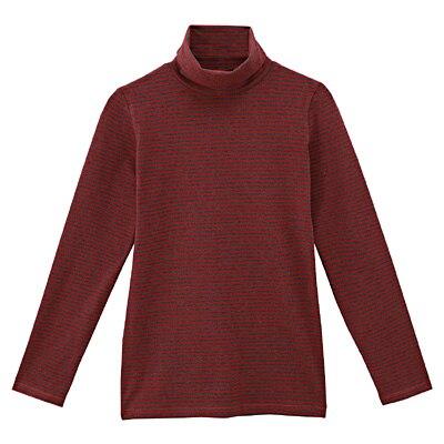天然素材にこだわったぬくもりタートルネック長袖シャツ 婦人L・バーガンディ×ボーダー